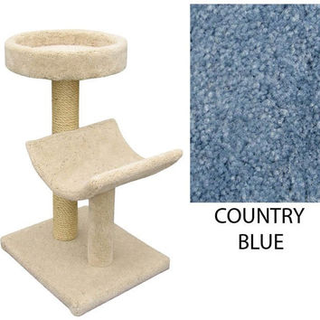 "Two  Level Cat House -Cradle & Perch -Country Blue (Country Blue) (37""H x 26""W x 20""D)"