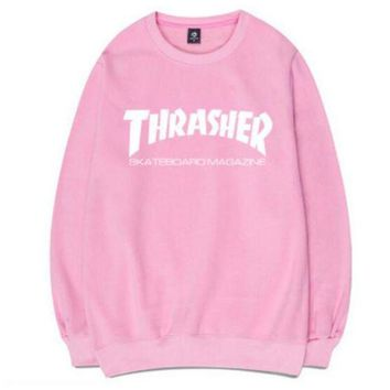 Gotopfashion Thrasher Fashion Women Men Letter Print Hip hop Round Collar Top Sweater Sweatshirt Pink