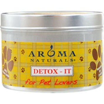 DETOX-IT AROMATHERAPY ONE 2.5x1.75 inch SOY/BEESWAX BLEND AROMATHERAPY CANDLE FOR PET LOVERS. REBALANCE ROOM ODORS WITH NATURAL BEESWAX, SUNFLOWER, SOY & RICE BRAN WAX.  BURNS APPROX. 15 HRS. UNISEX