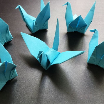 Origami Paper Crane | Handmade SKY BLUE Cranes | Handcrafted Party Wedding Thanksgiving Christmas Decoration Confetti Japan Washi Folded