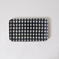 Fog Linen Work Coated Tray Small Navy White Check