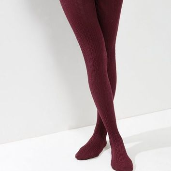 Burgundy Cotton Mix Cable Knit Tights