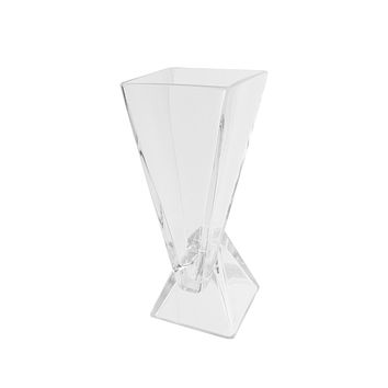 "9.75"" Offset Pyramids Abstract Transparent Glass Vase"