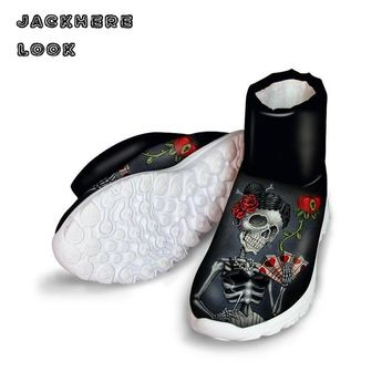 JACKHERELOOK High Quality Women Boots Vintage Punk Skull Printed Lady Winter Snow Fur Warm Boots Fashion Female Flat Ankle Shoes