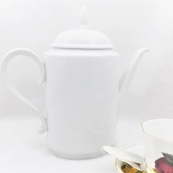 Heinrich All White Tea or Coffee Pot, Carmen Heinrich 1949-1990, Heinrich Germany