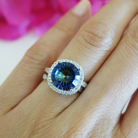 4.25 Carat Halo Wedding Set, Bridal, Color Changing Blue Quartz & Man Made Diamond Simulants, Art Deco, Engagement Rings,  Sterling Silver