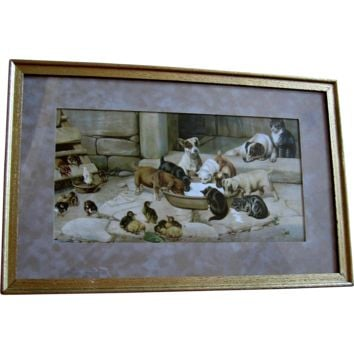 c1902 Five O Clock Tea Print Dog Cat Chicken Duck W H Trood Chromolithograph Farmyard Animal SCARCE Half Yard Long Woolson Spice
