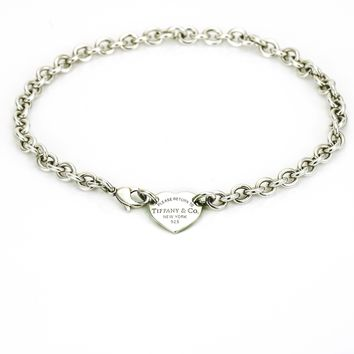 Return to Tiffany & Co. Heart Tag Choker Necklace in Sterling Silver