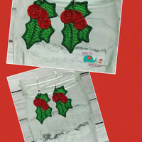 Christmas holly free standing lace embroidered earrings, wire earrings, dangling earring, jewelry, accessories, holiday, winter