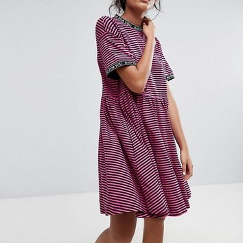 Lazy Oaf Smock Dress In Stripe With Bad For You Taping at asos.com