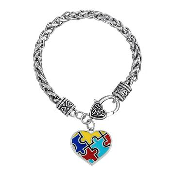 Autism Awareness Puzzle Piece Heart Shape Charm Lobster Claw Bracelet