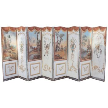 18th Century, French Double-Sided Eight-Panel Painted Screen