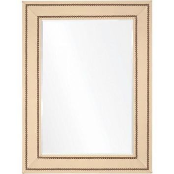 Cream Leather & Brass Nailhead Mirror by Bunny Williams