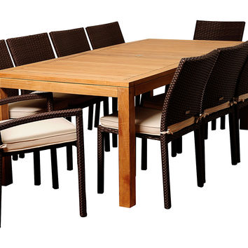 Anders 11-Pc Dining Set, White, Outdoor Dining Tables