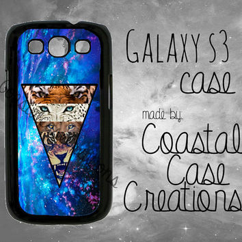Blue Galaxy Space Lions and Tigers Samsung Galaxy S3 Hard Plastic or Rubber Cell Phone Case Cover Original Design