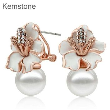 ONETOW Rose Gold Color Simulated Pearl Earrings Woman Flower Stud Earrings with Austria Rhinestone
