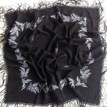 Black Square Fringe shawl, Birthday Gift, Winter warm scarf, Gift for Best Friend, Holiday gift, Coworker Gift, Mothers Day gift