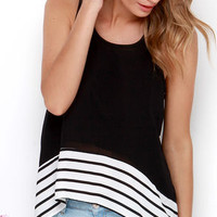 Is This Love? Black Striped High-Low Top