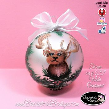Hand Painted Glass Ball Ornament - Deer Head - Original Designs by Cathy Kraemer
