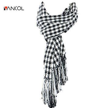 2015 Autumn Cashmere Mens Black White Warm Knitted Wool Plaid Long Thick Women Tassel Glitter Houndstooth Winter Tartan Scarf