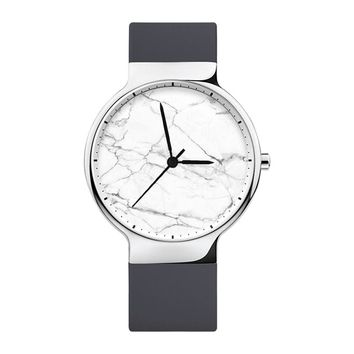 White Marble Watch, Mens Watch, Women Watches, Minimalist, Jewelry, Modern, Gift, Simple, White Silicone Strap