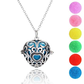 "Premium Heart Aromatherapy Essential Oil Diffuser Necklace Locket Pendant and 6 Colours Felt Pads with Adjustable 24"" Chain Perf"