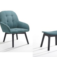 Modrest Ruben Modern Teal & Black Accent Chair & Ottoman