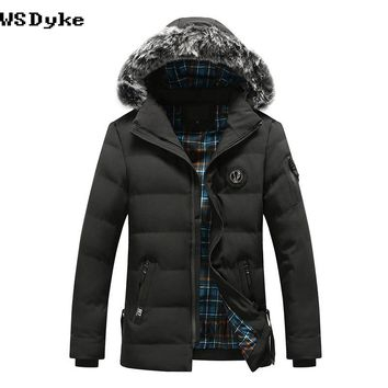 Winter Thick Warm Jacket Men Long Fur Collar Hooded