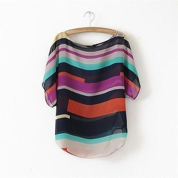 Womens Striped chiffon multi-color blouse Casual Loose Shirts