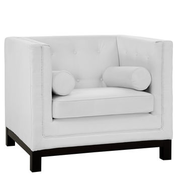 Imperial Button Back Side Pillows Leather Armchair in White