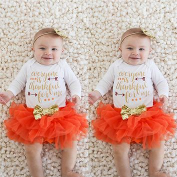 Newborn Infant Baby Girl Romper Tops+Tutu Skirts Thanksgiving Outfit Set  toddler baby boys clothes outfit  winter clothing #30