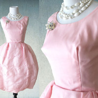1960s Pink Party Prom Dress with Beaded Tufted Bubble Skirt