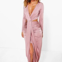 Kat Cut Out Side Drape Front Maxi Dress