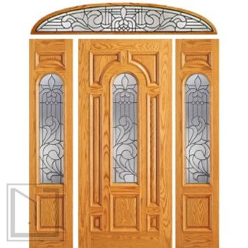 Prehung Mahogany Center Arch Lite Entry Door, 2 Sidelites Transom