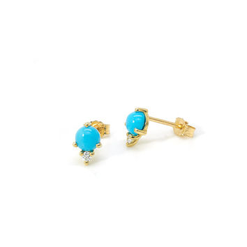 Turquoise & Diamond Modern Minimalist Stud Earrings 14k Yellow Gold
