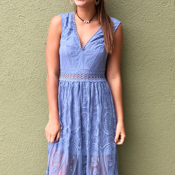 Lovely In Lace Dress - Dusty Blue