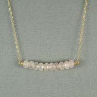 Beautiful Rose Quartz Beads Necklace, Wired Wrapped Beads, 14K Gold Filled Chain, Wonderful Jewelry