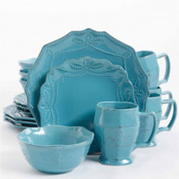 Elite Celesse 16 Piece Dinnerware Set - Turquoise