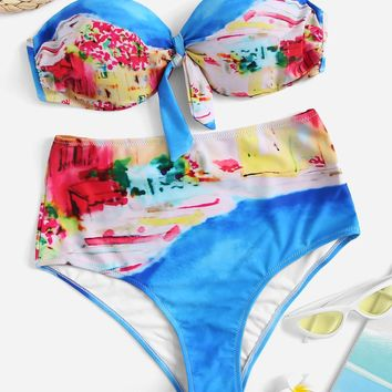 Random Tie Dye Bandeau With High Waist Bikini