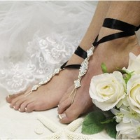 SJ3 ENCHANTED BRIDE black ribbon rhinestone Barefoot sandals