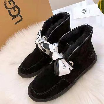 """""""UGG"""" Popular Women Lovely Bowknot Warm Wool Ankle Snow Boots Black"""