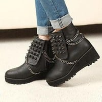 Black Leatherette Chunky Heel Ankle Boots Shoes S005787