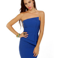 Sexy Strapless Dress - Royal Blue Dress - $46.00