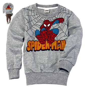 Retail Kids Long sleeve t shirt Long Sleeve baby Boys girl Children 2-7 years Children clothes cartoon Clothing, spider-man