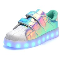 TEAL SHELL LED LIGHT UP KIDS SHOES