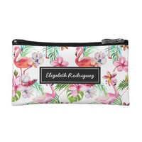 Personalized Tropical Flamingo Make up Artist Cosmetic Bag