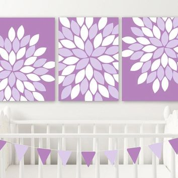 Purple Flower Wall Art, CANVAS or Prints, Purple Lavender Floral Nursery Decor, Purple Flower Bedroom Wall Decor, Purple Bathroom Set of 3