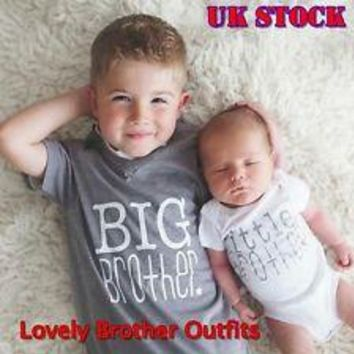 Kids Baby Boys Girls Summer Brother Short Sleeve T-shirt Cotton Tee Tops Clothes(Big Brother/Little Brother)