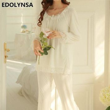 ONETOW Pajama Sets 2017 Cotton Long Sleeve Sleepwear Sexy Women Character Home Wear Vintage Indoor Clothing Pyjamas For Women #H323