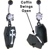 Cubic Zirconia BLACK Plating COFFIN Dangle Belly Ring | Body Candy Body Jewelry